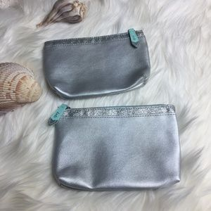 Ipsy Cosmetic Bags 2 Silver and Mint with Glitter